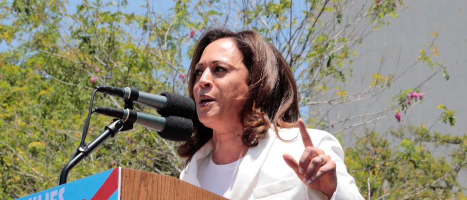 """Senator Kamala Harris speaks during a national day of action called """"Keep Families Together"""" to protest the Trump administration's """"Zero Tolerance"""" policy in Los Angeles, California, U.S. June 30, 2018. REUTERS/Monica Almeida"""