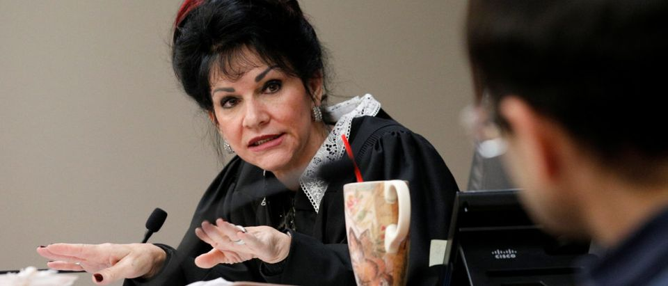 Circuit Court Judge Rosemarie Aquilina addresses Larry Nassar a former team USA Gymnastics doctor, who pleaded guilty in November 2017 to sexual assault charges, during his sentencing hearing in Lansing, Michigan, U.S., January 18, 2018. REUTERS/Brendan McDermid