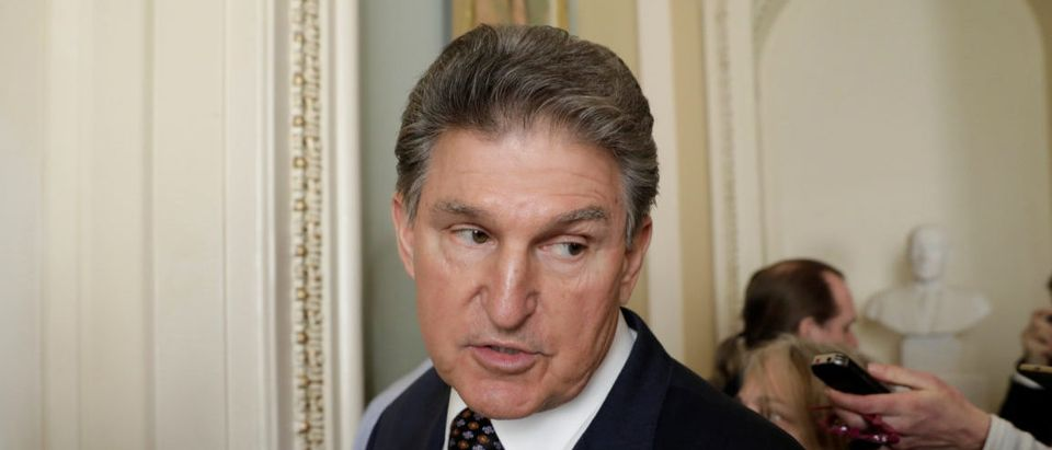 Senator Joe Manchin (D-WV) talks to reporters