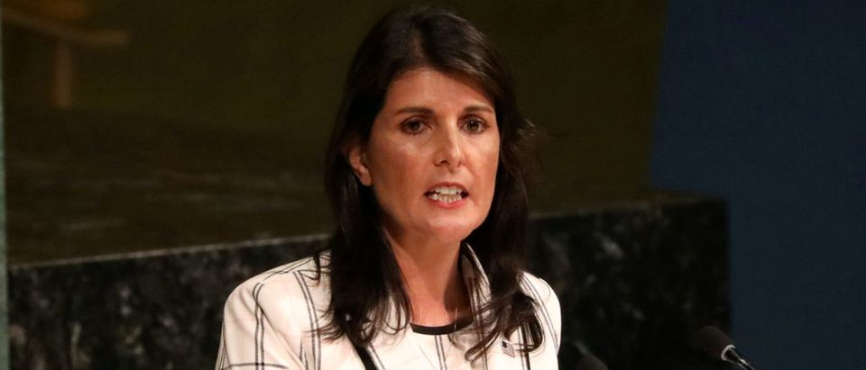 U.S. Ambassador to the United Nations Nikki Haley addresses a United Nations General Assembly meeting at U.N. headquarters in New York, U.S., June 13, 2018. REUTERS/Mike Segar