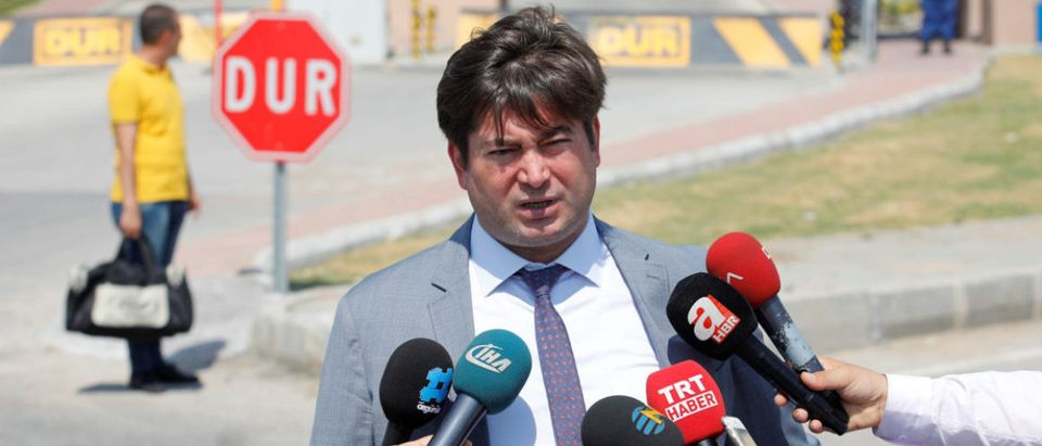 Ismail Cem Halavurt, lawyer of the jailed pastor Andrew Brunson, talks to media in front of the Aliaga Prison and Courthouse complex in Izmir