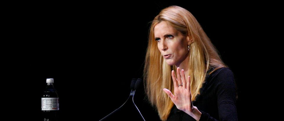 "Television personality Coulter speaks to the audience during the ""Speaker Series: The Minds That Move The World"" debate with Bill Maher in New York"