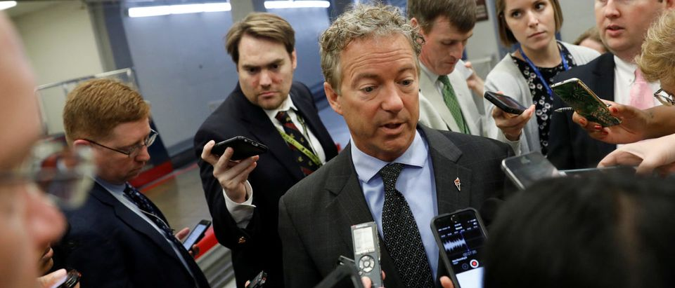Sen. Rand Paul (R-KY) speaks with reporters about the Senate health care bill on Capitol Hill in Washington