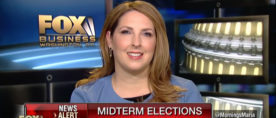 Ronna McDaniel during an interview with Fox Business Network
