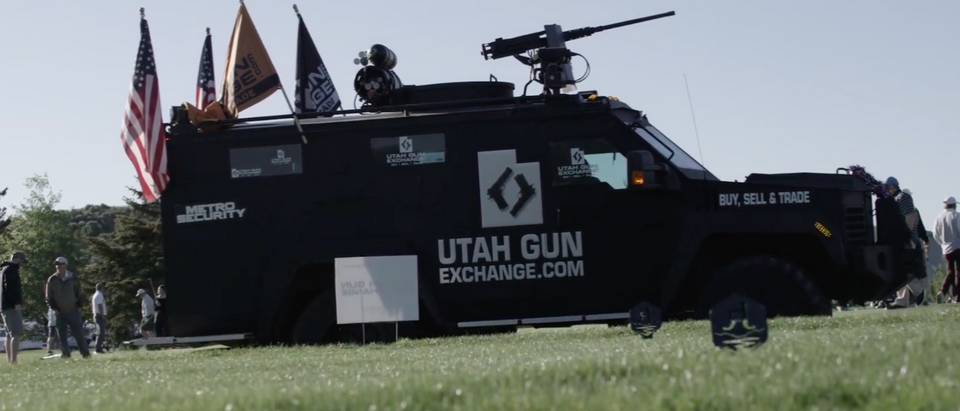 A Utah-based gun group was detained and had their military armored personnel carrier and replica gun confiscated while attending the LGBT PrideFest in New York City. (Utah Gun Exchange/ Facebook/ Screenshot)