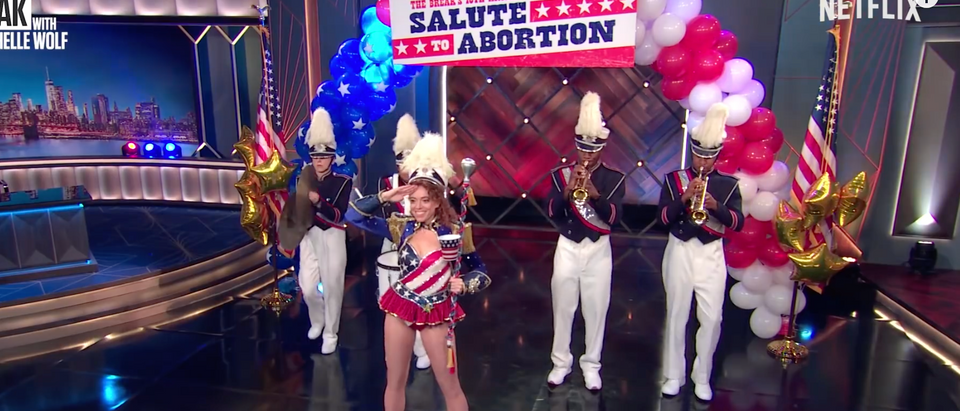 Michelle Wolf did a salute to abortions (Youtube screenshot 7/9/2018)
