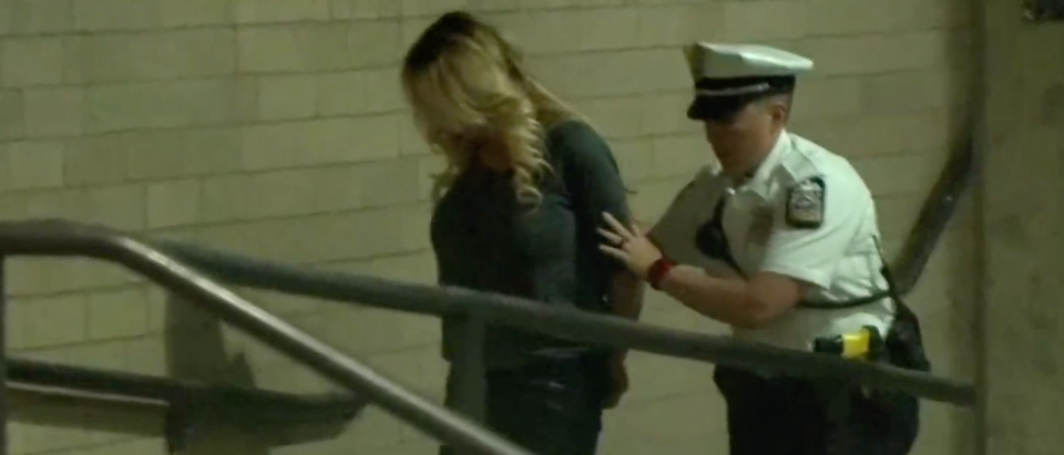 Stormy Daniels arrested (Youtube Screenshot from AP)