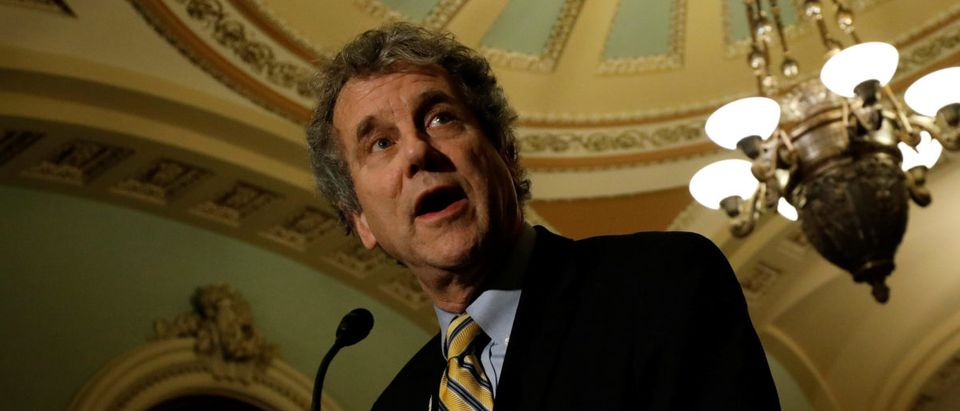Sen. Sherrod Brown (D-OH), accompanied by Sen. Tammy Baldwin (D-WI), speaks with reporters following the party luncheons on Capitol Hill in Washington