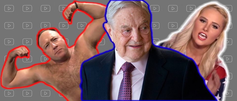 Pictured left to right: Alex Jones, George Soros, and Tomi Lahren. A George Soros funded nonprofit, Right Wing Watch, has a channel consisting of entirely other people's videos, possibly violating copyright laws, but YouTube has not enforced its copyright policies on the channel. (Images: Olivier Hoslet/AFP/Getty Images, Shutterstock.com, and YouTube Screenshots)