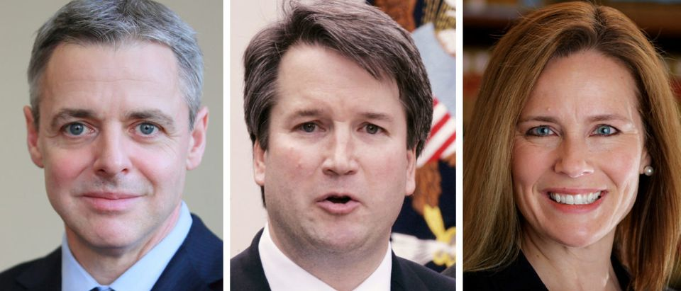 FILE PHOTO: Federal appeals court judges Raymond Kethledge Brett Kavanaugh and Amy Coney Barrett