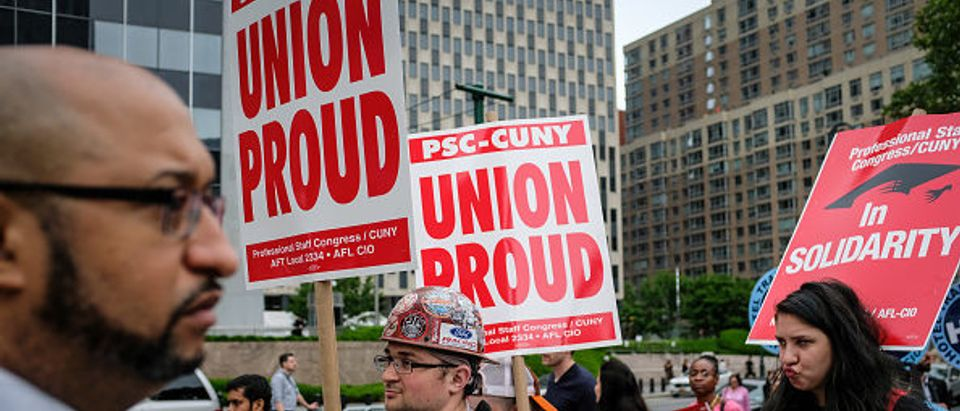 Union Activists Protest Supreme Court Janus v. AFSCME Decision In New York
