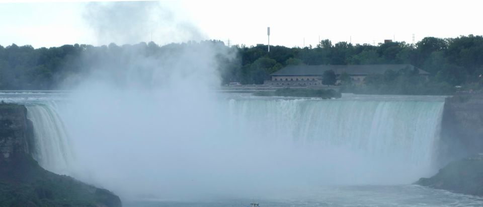 """The """"Maid of the Mist"""" boat ventures at the bottom of the Horseshoe Falls"""
