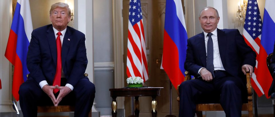 U.S. President Donald Trump meets with Russian President Vladimir Putin in Helsinki, Finland, July 16, 2018. REUTERS/Kevin Lamarque - RC182EB2FF20