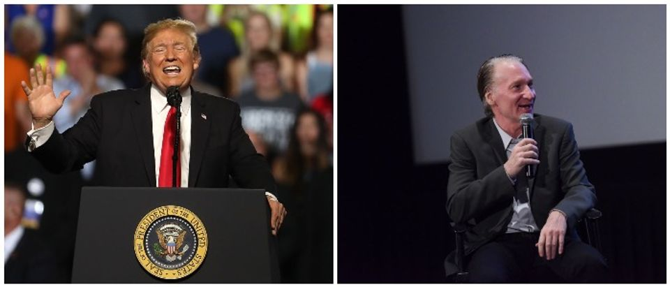 Trump and Maher (LEFT: Photo by Justin Sullivan/Getty Images, RIGHT: Photo by Vivien Killilea/Getty Images for Electric Entertainment)