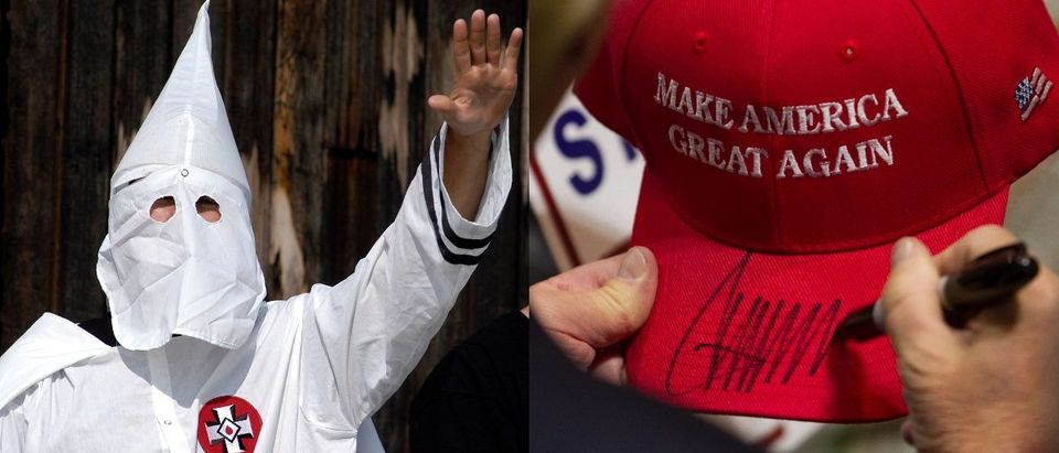 LEFT -- A Ku Klux Klan member salutes during an American Nazi Party rally at Valley Forge National Park September 25, 2004 in Valley Forge, Pennsylvania. (Photo by William Thomas Cain/Getty Images). RIGHT -- Donald Trump signs a hat after speaking at a rally at the Connecticut Convention Center on April 15, 2016 in Hartford, Connecticut. (Photo by Matthew Cavanaugh/Getty Images)