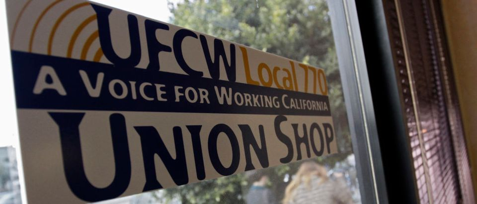 A UFCW Local 770 Union Shop sticker is pictured at the Venice Beach Care Center medical marijuana dispensary in Los Angeles, California