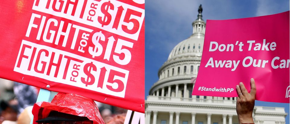 Minimum wage protest vs. Planned Parenthood protest, Reuters/ By Frank Polich and Joshua Roberts