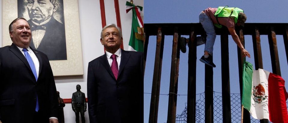 Pompeo and Mexican president-elect Obrador vs. man hanging Mexican flag from Mexico-U.S. border, REUTERS/Carlos Jasso and Jorge Duenes