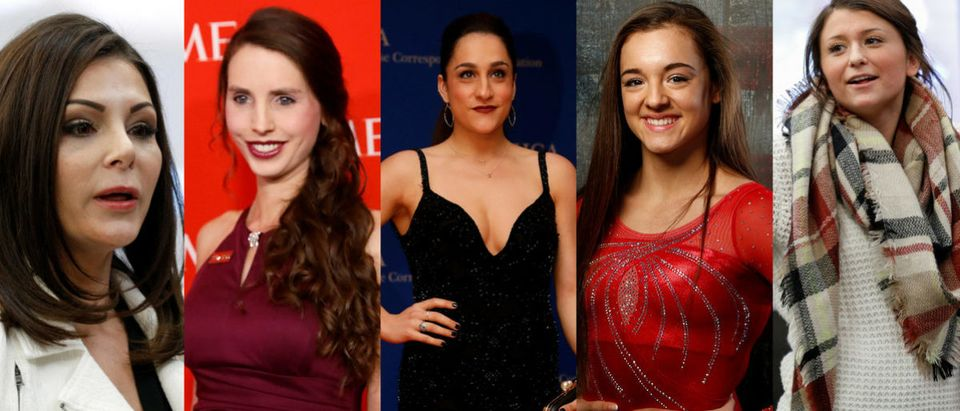 From L to R: Nassar sexual abuse survivors and Arthur Ashe Courage Award recipients Jamie Dantzscher, Rachael Denhollander, Jordyn Wieber, Maggie Nichols and Lindsey Lemke. (Images via Reuters; edits by Evie Fordham)
