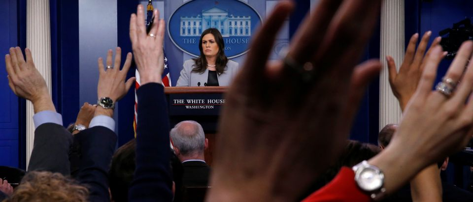 White House Press Secretary Sarah Huckabee Sanders takes questions during a daily briefing at the White House in Washington