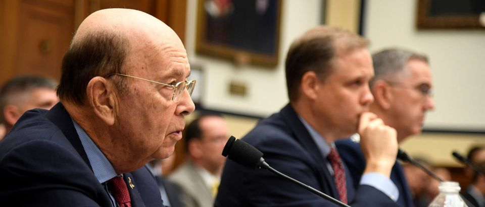 Commerce Secretary Wilbur Ross makes remarks as NASA Administrator Jim Bridenstine (C) and US Strategic Command Commander Gen. John Hyten listen during the House Armed Services Strategic Forces Subcommittee's joint hearing with the House Science, Space and Technology Committee, in Washington, U.S., June 22, 2018. The panel heard testimony on President Donald Trump's proposed Space Force. REUTERS/Mike Theiler