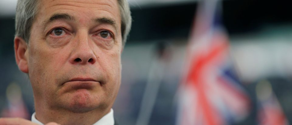 Brexit campaigner and MEP Farage attends a debate on the guidelines on the framework of future EU-UK relations at the European Parliament in Strasbourg