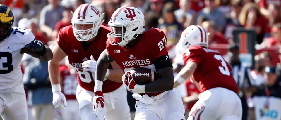 BLOOMINGTON, IN - OCTOBER 14: Morgan Ellison #27 of the Indiana Hoosiers runs with the ball during the game against the Michigan Wolverines at Memorial Stadium on October 14, 2017 in Bloomington, Indiana. (Photo by Andy Lyons/Getty Images)