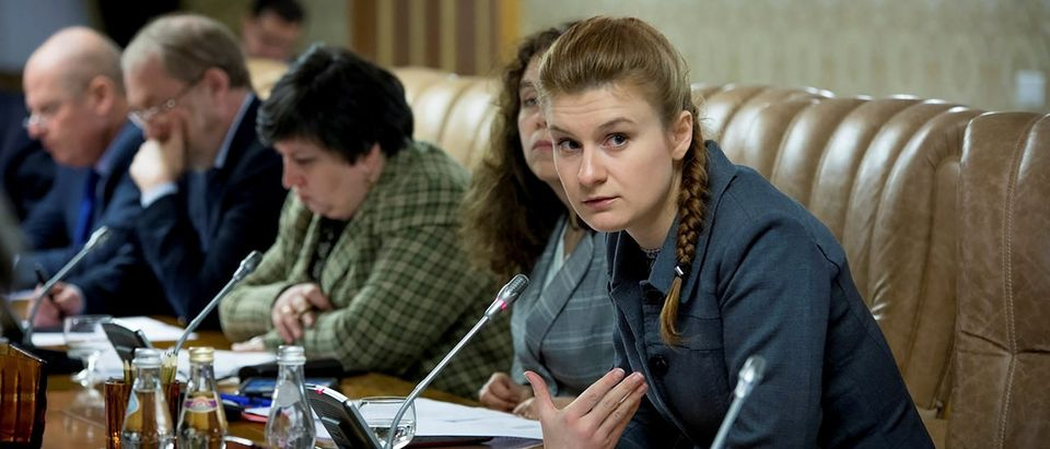 Public figure Maria Butina attends a meeting of a group of experts, affiliated to the government of Russia