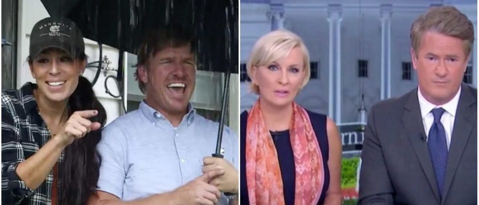 Right: Mika Brzezinski and Joe Scarborough (MSNBC Screenshot), Left: Chip and Joanna Gaines (HGTV Screenshot)