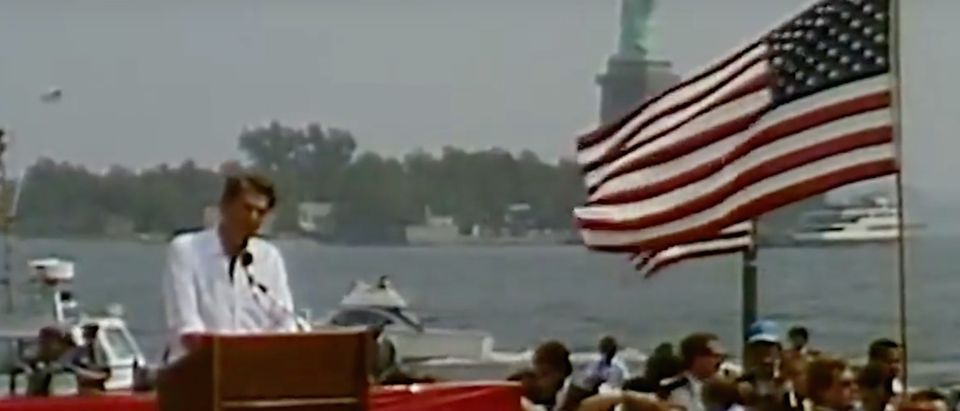 Reagan speaks on immigration in NYC./Screenshot