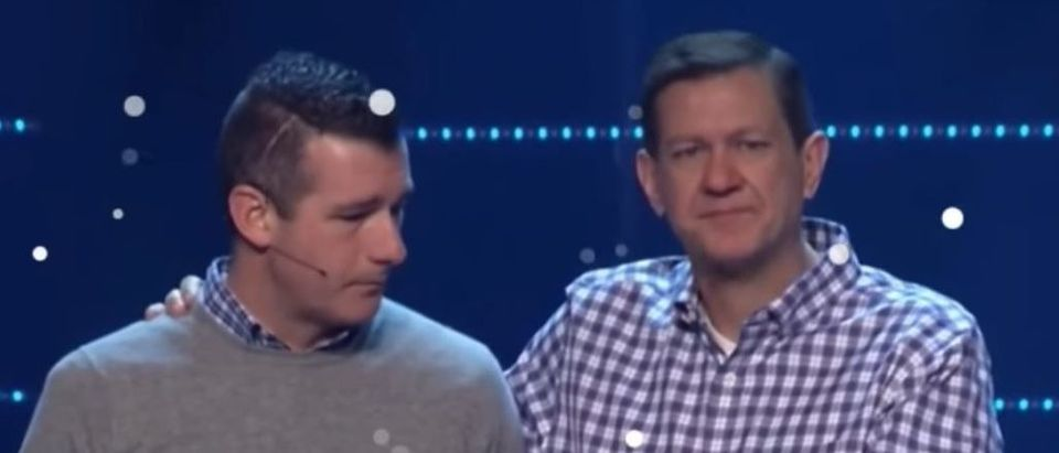 Pastor Andy Savage, left, and head pastor Chris Conlee, right, address Highpoint Church in Memphis, Tennessee in January 2018. YouTube screenshot