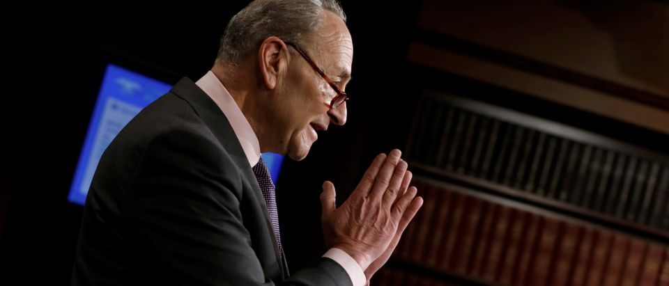 Senate Minority Leader Chuck Schumer (D-NY) gestures at a news conference to announces Senate Democrats' gun safety proposals on Capitol Hill in Washington, U.S., March 1, 2018. REUTERS/Yuri Gripas