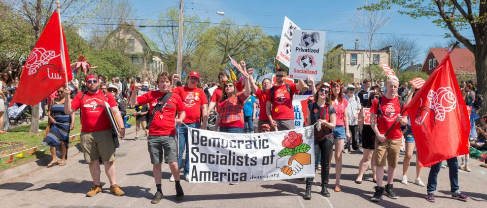 The Democratic Socialists of America partake in Minneapolis' yearly May Day parade. (SHUTTERSTOCK/ Nic Neufeld)
