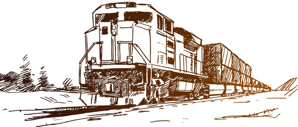 Diesel train with cargo containers. Hand drawn sketch, Shutterstock/ By