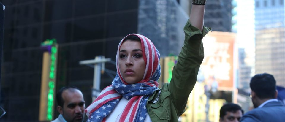 """NEW YORK CITY - FEBRUARY 19 2017: A crowd estimated at 10,000 joined NYC Mayor Bill de Blasio in declaring: """"Today I am a Muslim"""" during a rally in Times Square. SHUTTERSTOCK/ via user a katz"""