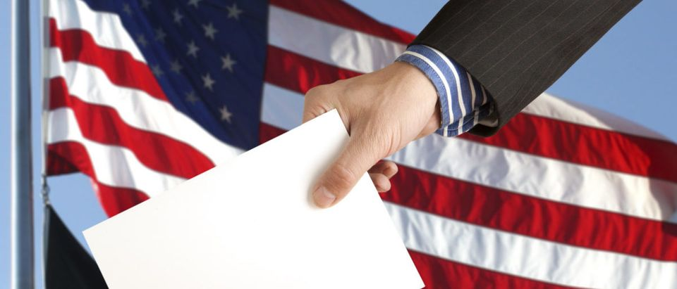 Pictured is a hand with a ballot and box. SHUTTERSTOCK/Andrey Burmakin