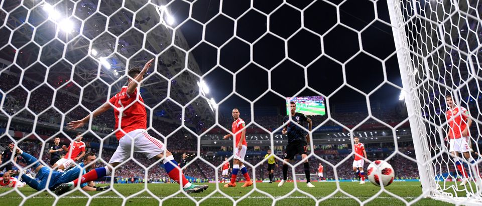 Ivan Perisic of Croatia hits the post with a shot during the 2018 FIFA World Cup Russia Quarter Final match between Russia and Croatia at Fisht Stadium on July 7, 2018 in Sochi, Russia. (Photo by Laurence Griffiths/RMEOTE/Getty Images)