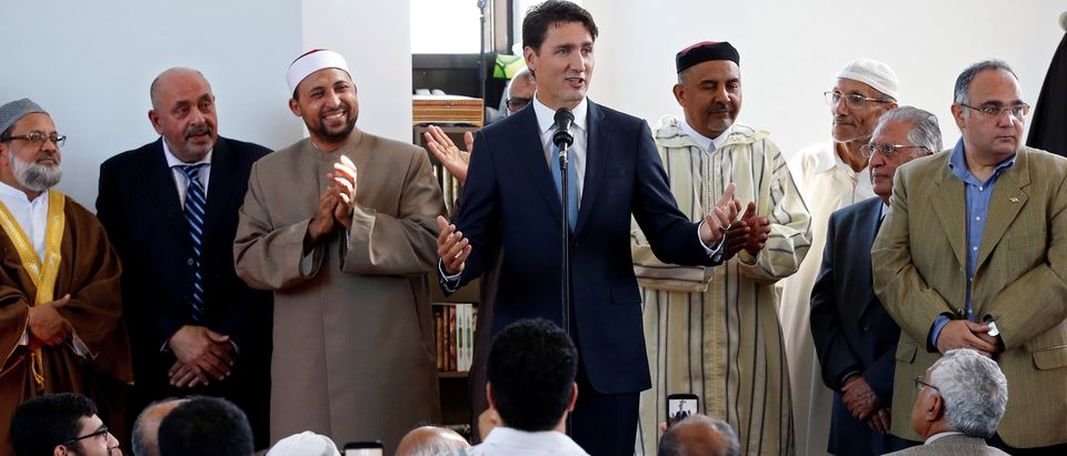 Canada's PM Trudeau speaks at a mosque to mark the Muslim holiday of Eid al-Adha in Ottawa