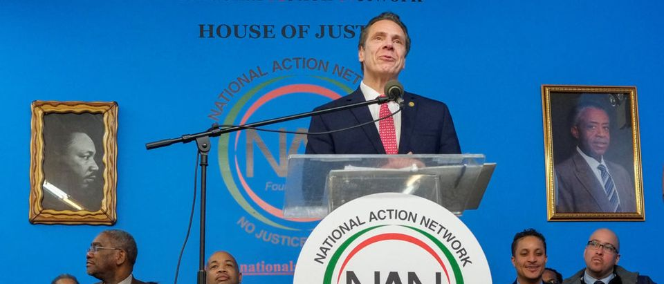New York Gov. Andrew Cuomo (D-N.Y.), speaks to guests during the National Action Network (NAN) Dr. Martin Luther King, Jr. Day Public Policy Forum in the Harlem borough of New York City, New York, U.S., January 15, 2018. REUTERS/Eduardo Munoz