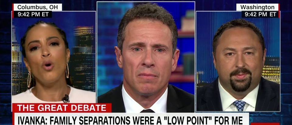 "Angela Rye, Chris Cuomo and Jason Miller on ""Cuomo Prime Time"" Aug. 2, 2018. (Photo: Screenshot/CNN)"