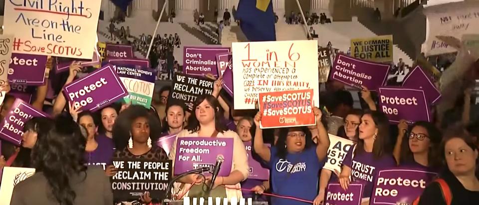 Anti-Kavanaugh protestors at the Supreme Court. (YouTube screenshot/NBC News)