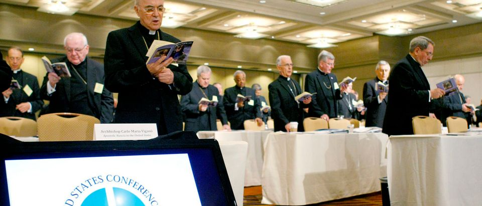 Archbishop Carlo Maria Vigano (front, L), the Apostolic Nuncio to the United States reads prayers at the start of an afternoon session during the U.S. Conference of Catholic Bishops Annual Spring Assembly in Atlanta, Georgia June 13, 2012. REUTERS/Tami Chappell