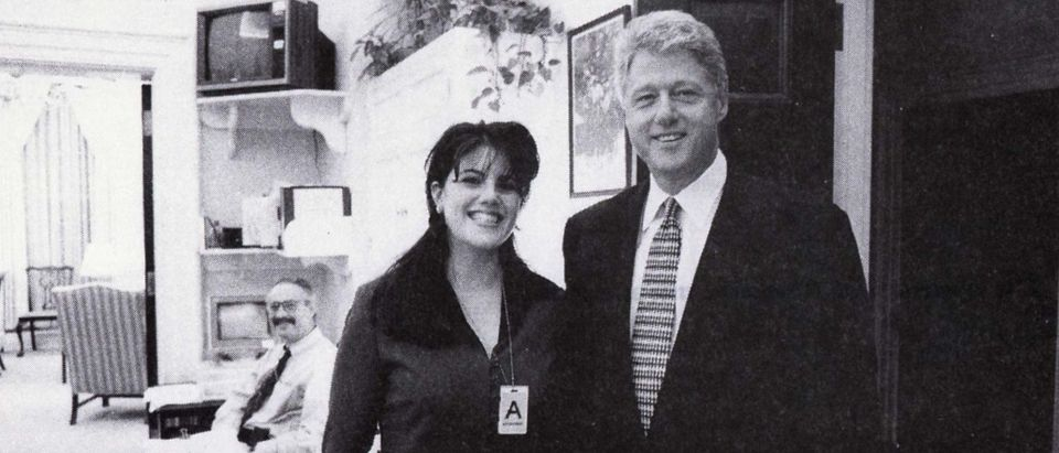 President Clinton poses with Monica Lewinsky in a Nov. 17, 1995 photo, that was released Sept. 21 by Independent Counsel Kenneth Starr as part of more than 3,000 pages of documents pertaining to the scandal. According to Lewinsky's deposition, she and Clinton had a sexual encounter in the White House that day. (Reuters)