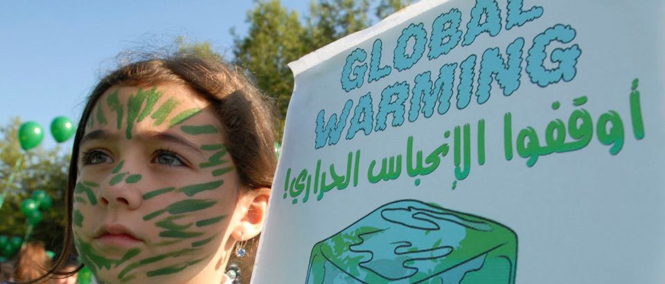 A child holds up a poster as she takes part in a demonstration in Sidon demanding action against climate change
