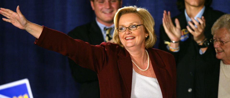 McCaskill, Democratic candidate for U.S. State Senate in Missouri, smiles during her acceptance speech in St. Louis