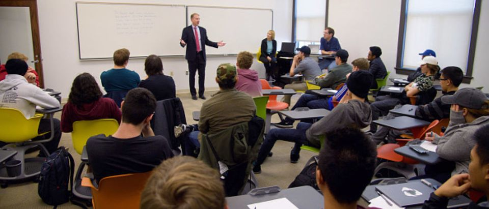 LINCOLN, NE - NOVEMBER 03: Brian Vaske, CEO of ITI Data, returns to the University of Nebraska-Lincoln campus to share his experiences and knowledge with the undergraduate students of Computer Science and Engineering class. on November 3, 2017 in Lincoln, Nebraska. (Photo by Dave Kotinsky/Getty Images for ITI Data)