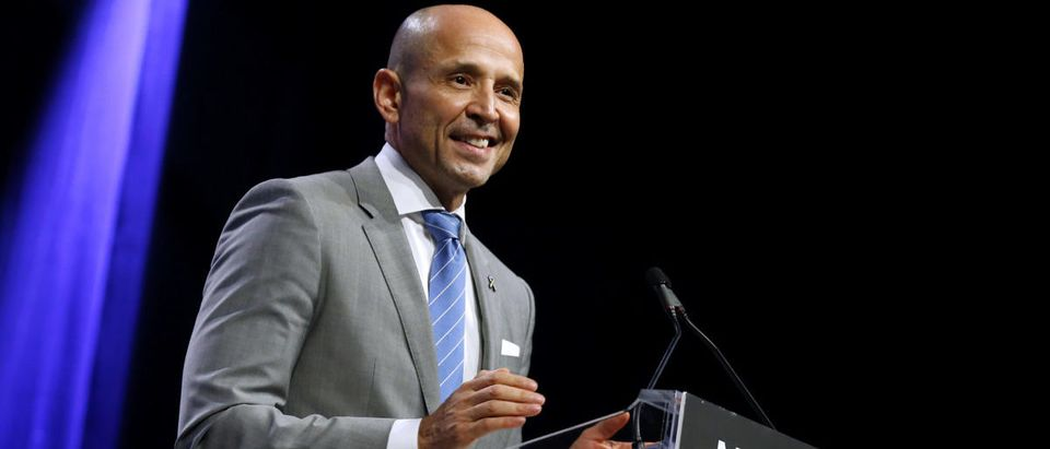 David Garcia, gubernatorial candidate for Arizona, speaks at the Netroots Nation annual conference for political progressives in New Orleans