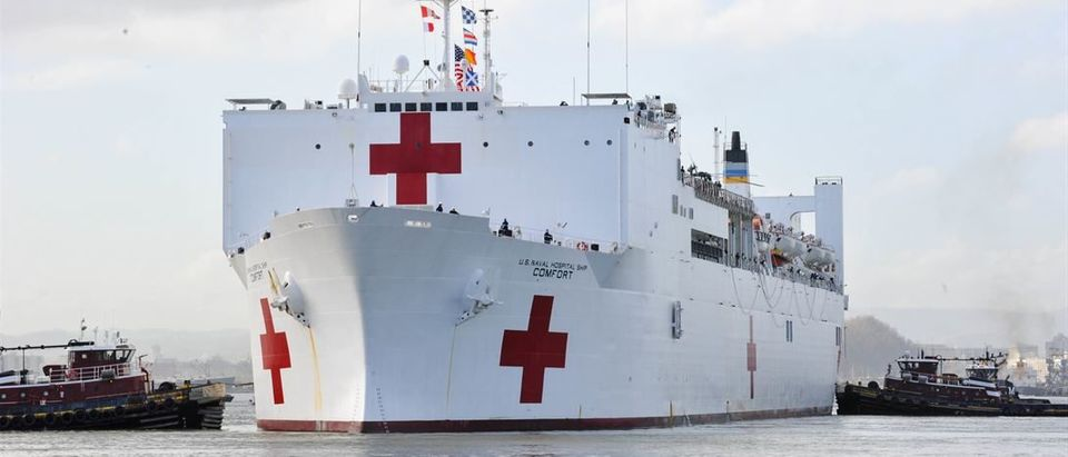 The Military Sealift Command hospital ship USNS Comfort arrives in San Juan, Puerto Rico, Oct. 3, 2017. The Comfort will help support Hurricane Maria aid and relief operations. The Defense Department is supporting the Federal Emergency Management Agency, the lead federal agency, in helping those affected by Maria to minimize suffering and is one component of the overall whole-of-government response effort. Air Force photo by Capt. Christopher Merian