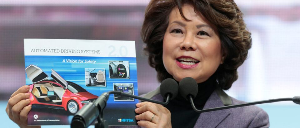 U.S. Secretary of Transportation Elaine Chao speaks ahead of Press Days of the North American International Auto Show at Cobo Center in Detroit