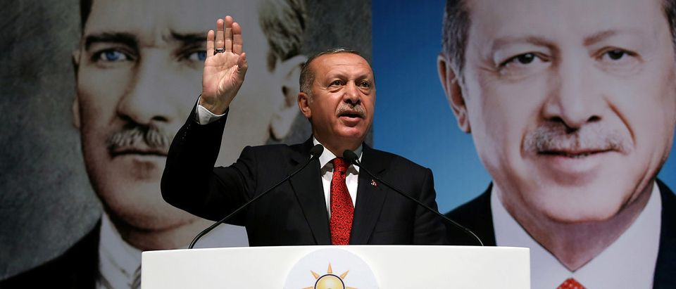 Turkish President Tayyip Erdogan addresses members of his ruling AK Party in Rize
